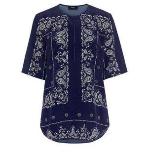 THEORY Antazie Bandana Paisley Silk Top Blouse
